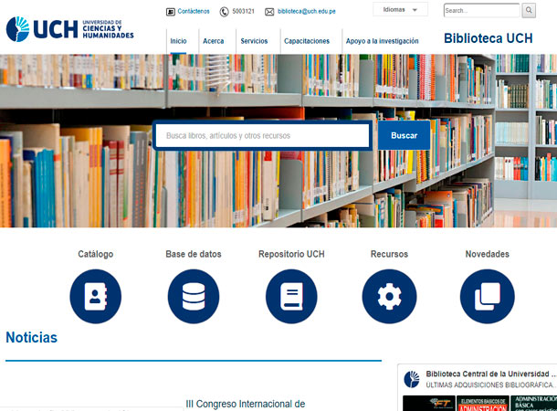 Web Administrable - Biblioteca Universidad de Ciencias y Humanidades realizado por gscreativas