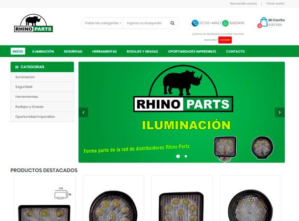Tienda Virtual RHINO PARTS desarrollado por gscreativas